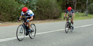 Carolyn Harbeck out sprinting Tony Van Merwyk