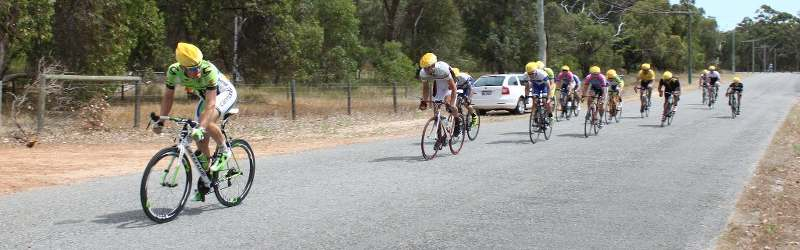 Adam Wise wins the sprint for second place in B grade photo by Peter Moyse