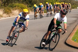 The decisive move in the race as Andrew Crack and Craig James go clear on B grade in pursuit of the lone leader