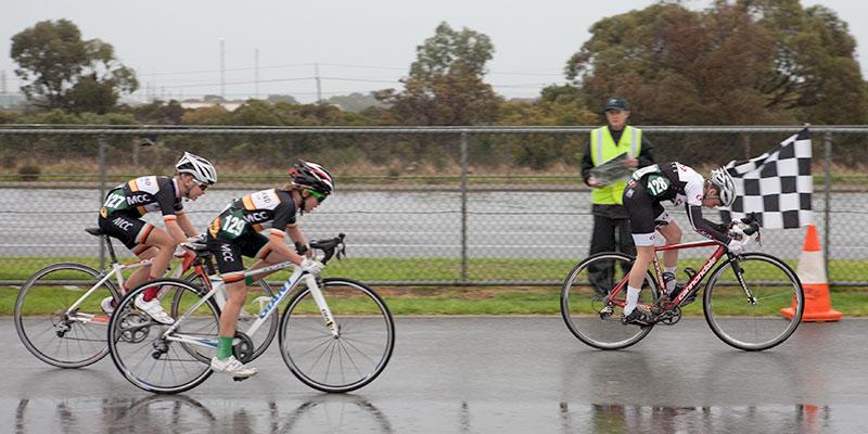 Baden Grey winning the under 13 men's sprint