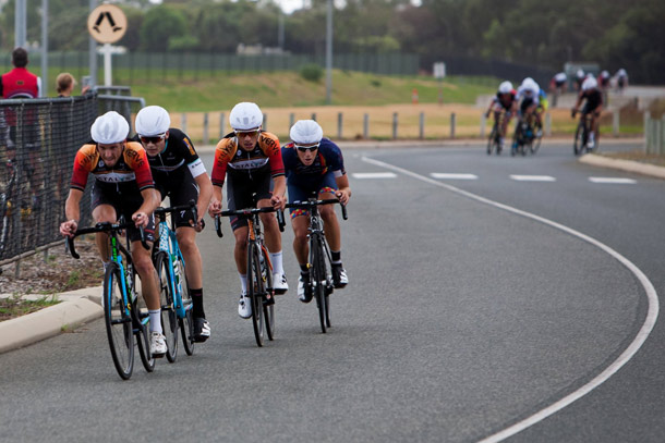Logan Calder on the front of the successful break in A grade