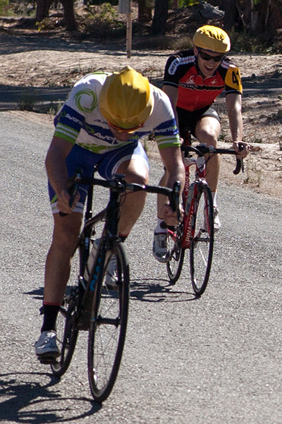Peter Clark wins the two up sprint in B grade