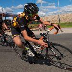 Mian Grimbeek of the front of the under 17 men's breakaway