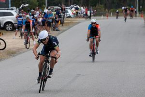 Joseph Breheny sprints away from Greg Rossiter to take the win in A grade
