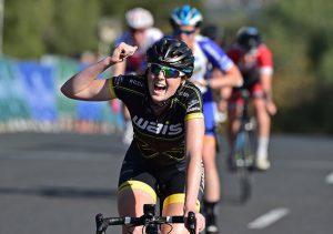 Jade Haines celebrates her win.