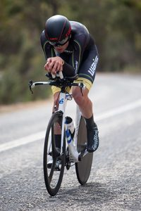 Conor Leahy still on his TT bars at the top of the climb