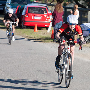 young rider sprinting