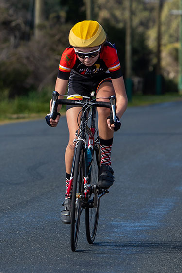 junior women cyclist solo