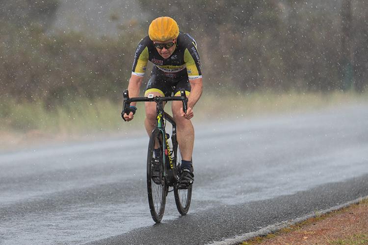 rain with a cyclist