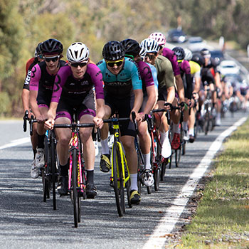 bunch of cyclists make the climb look easy