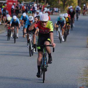 cyclist with fist raise